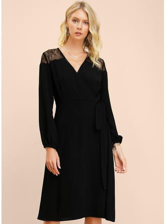 VERYVOGA Lace/Solid Long Sleeves A-line Midi Little Black/Casual/Elegant Dresses 1
