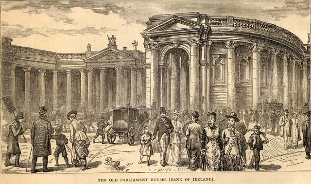 Bank of Ireland. Engraving from 'The Industries of Dublin' (1887)