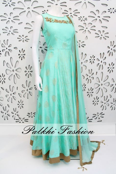 PalkhiFashion Exclusive Full Flair Cyan Blue Colored Silk Outfit with Elegant Top Work.