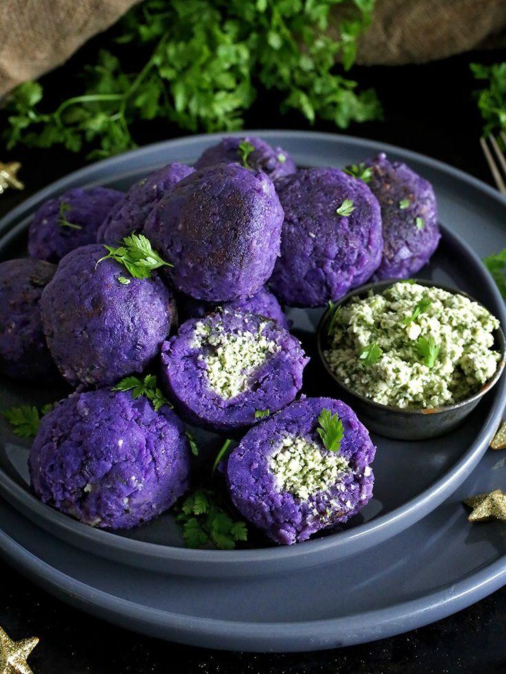 These vegan Cashew Cheese Stuffed Purple Potato Balls are a pretty alternative to regular mashed potatoes, and make a beautiful Christmas side.