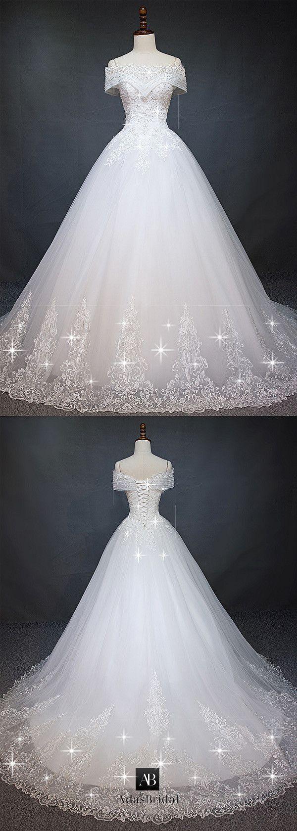 Wunderschönes Tüll Off-the-Shoulder-Ausschnitt Ballkleid Brautkleid mit Perlen…