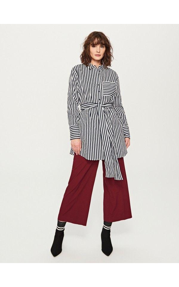 Koszula W Paski Koszule Granatowy Reserved Striped Shirt Striped Top Fashion