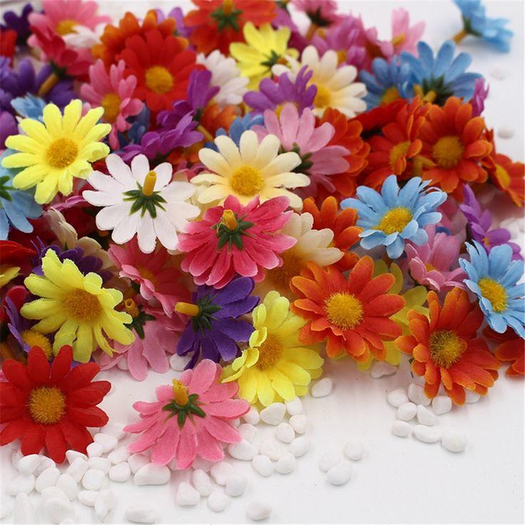 10 unids Pequeño Girasol Seda Handmake Flor Artificial Cabeza Decoración de La Boda de la Guirnalda de BRICOLAJE Caja de Regalo Scrapbooking Flor Artificial