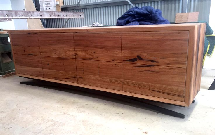 Custom buffet with black powder coated steel legs. Made from recycled messmate featuring 8 large push to open drawers. Designed and made by Bombora Custom Furniture. #bomboracustomfurniture #custombuffet #customfurnituretorquay