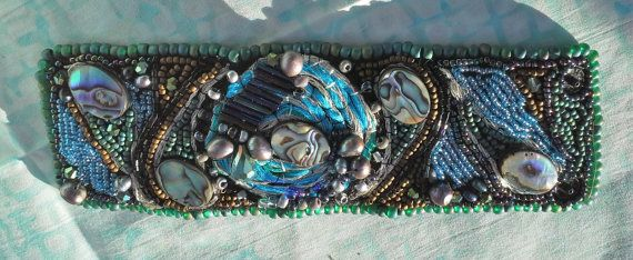 Beaded and embroidered cuff