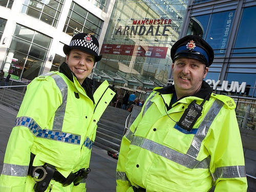 A police community support officer and police constable of Greater Manchester Police's North Manchester Division on patrol in Manchester city centre. The city, with its mix of businesses and domestic homes, is a very dynamic place to police and provides officers with many unique challenges. www.gmp.police.uk