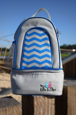 Blue OR Pink Day Pack |  Two compartments, and fully insulated.  You are able to pack enough food, drinks and nappy change accessories for a big day out!  Ideal for daycare centres and family daycare, but the options are endless – a handy bag  for the beach or a picnic, or a great solution to transporting a breast pump and storage of breastmilk whilst away from your child!