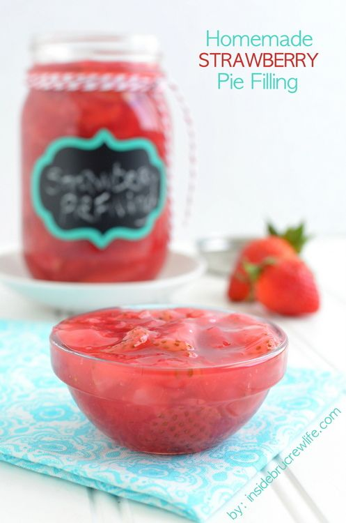 Homemade Strawberry Pie Filling - this delicious pie filling is very easy to make.  Perfect for cakes or danishes.