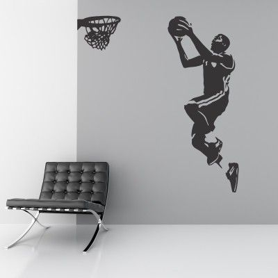 """Adesivo Murale - Basket, Canestro.  Adesivo murale di alta qualità con pellicola opaca di facile installazione. Lo sticker si può applicare su qualsiasi superficie liscia: muro, vetro, legno e plastica.  L'adesivo murale """"Basket, Canestro"""" è ideale per decorare la cameretta. Adesivi Murali."""