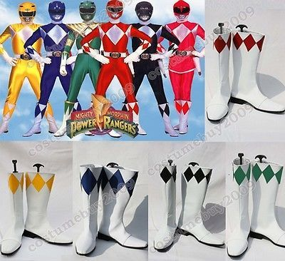 Mighty Morphin Power Rangers Green Red Black Pink Yellow Blue Ranger Shoes Boots