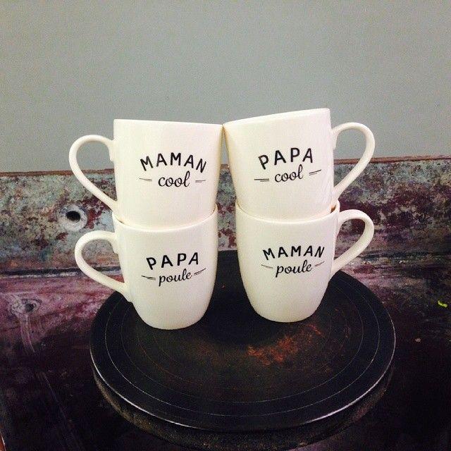 Les mugs Papa Cool, Papa Poule, Maman Cool et Maman Poule seront en ligne dès le 5 juin 2014 sur l'e-shop //  The mugs - Papa Cool, Papa Poule, Maman Cool, Maman Poule - will be online from the 5th June 2014 on the e-shop ✿ - émoi émoi