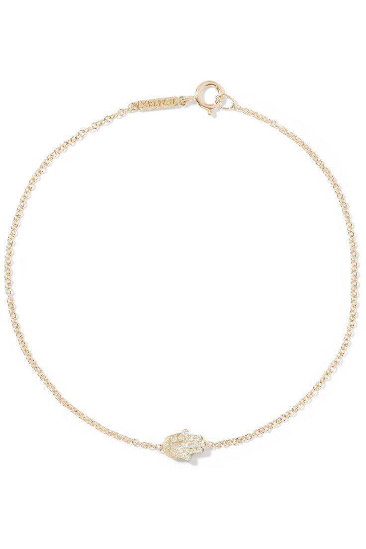 Jennifer Meyer   Bracelet en or 18 carats et diamants Mini Hamsa   NET-A-PORTER.COM
