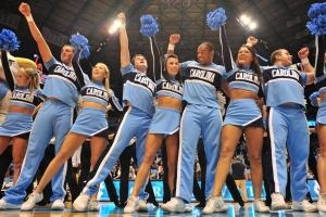 The UNC cheerleaders following the North Carolina Tar Heels vs. Miami Hurricanes basketball game in Chapel Hill, N.C. Tuesday, January 10, 2012.