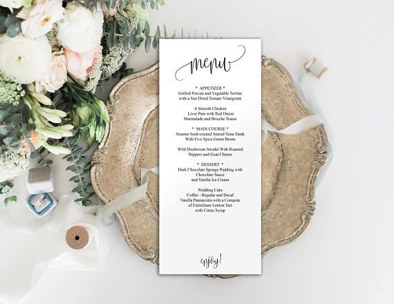 Editable Menu Template, Wedding Menu Template, #weddings #invitation @EtsyMktgTool http://etsy.me/2z9Aq4P #weddingtemplate #menuprintable