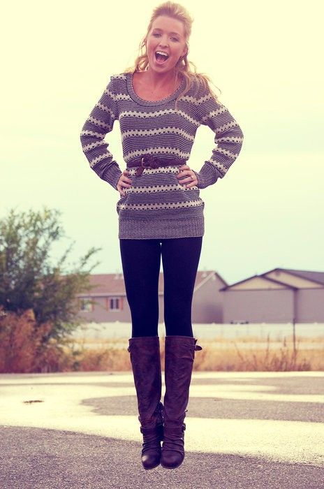 Belted sweater, leggings, and boots