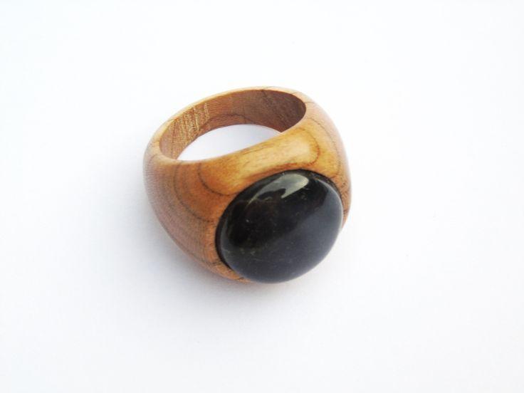 Bague en bois et pierre  Cadeau pour femme  Cadeau pour homme  nouveau style mod…