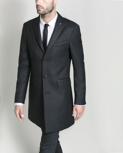 Image 5 of CHECKED OVERCOAT WITH FAUX LEATHER DETAIL from Zara    40