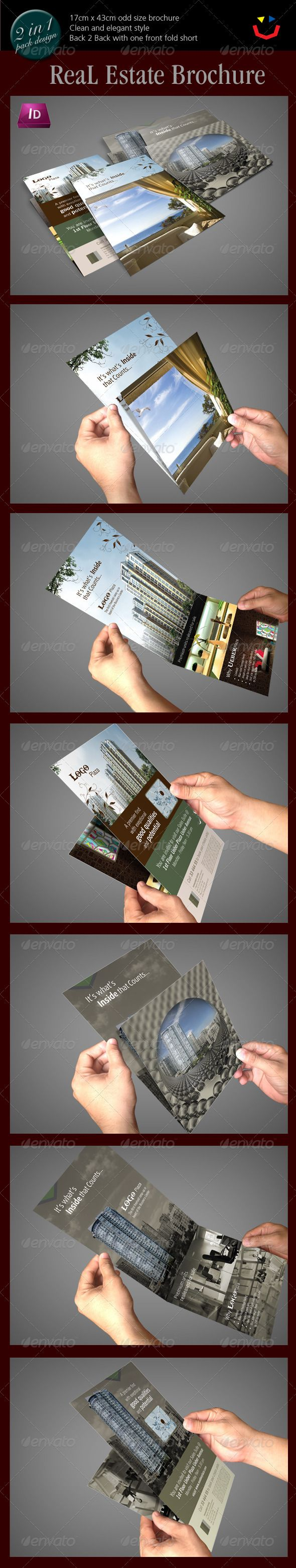 A horizontalbrochure template with unique one short folding perfect designed for Real Estate