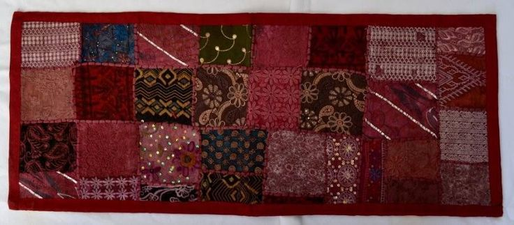 Indian Sari Table Runner/Wall Hanging - Burgandy/Maroon 97cm x 36cm tapestry $26.98