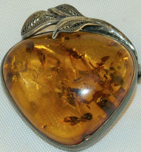 Amber pin/pendant, sterling. Poland.