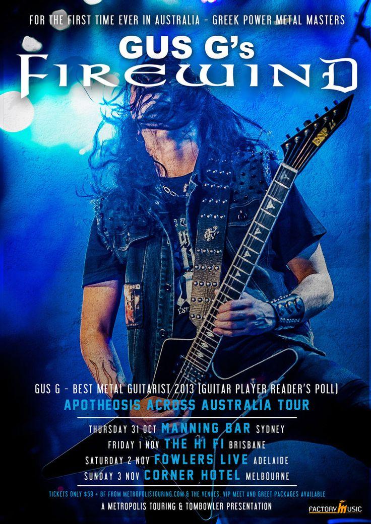 Gus G's Firewind Australian Tour Poster 2013.