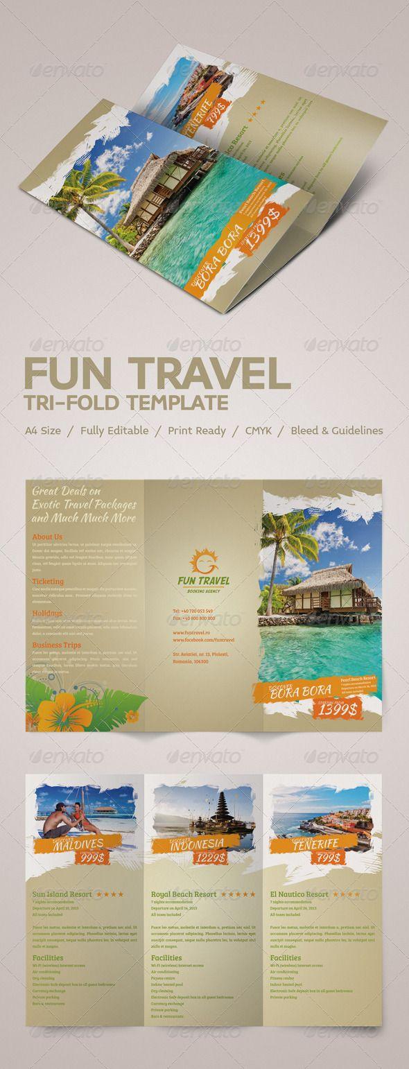 Fun Travel Tri-fold Brochure #GraphicRiver Simple, clean and modern business tri-fold brochure template.