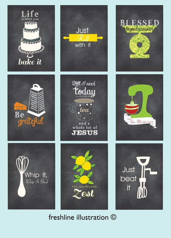 Kitchen Wall Art   Set Of 9   Art Prints   Funny Kitchen Posters    Chalkboard