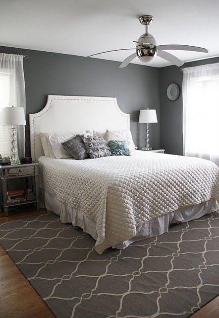 Grey white and metallic bedroom.  Benjamin Moore Amherst Grey. Want this gray in our master.