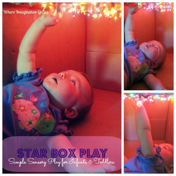 Simple sensory play for infants! Make a DIY constellation or star box! It's a fun sensory experience for infants and toddlers!