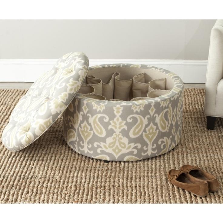 Safavieh Tanisha Grey Shoe Storage Ottoman | Overstock.com $226.69