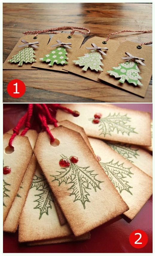 Christmas gift tags- can use card, tea-stained paper, wallpaper, tissue paper, ribbon, buttons