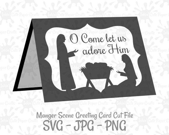 Nativity Card Svg Manger Svg Christmas Card Template Etsy Christmas Card Template Christmas Cards Cards