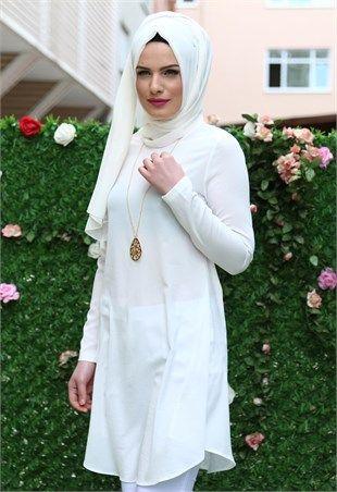 Beyhan Kolyeli Tunik Beyaz 1001
