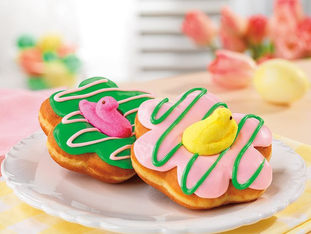 This is a PEEPS® donut from Dunkin' Donuts. | Dunkin' Donuts Is Debuting A New Peeps Donut For Easter