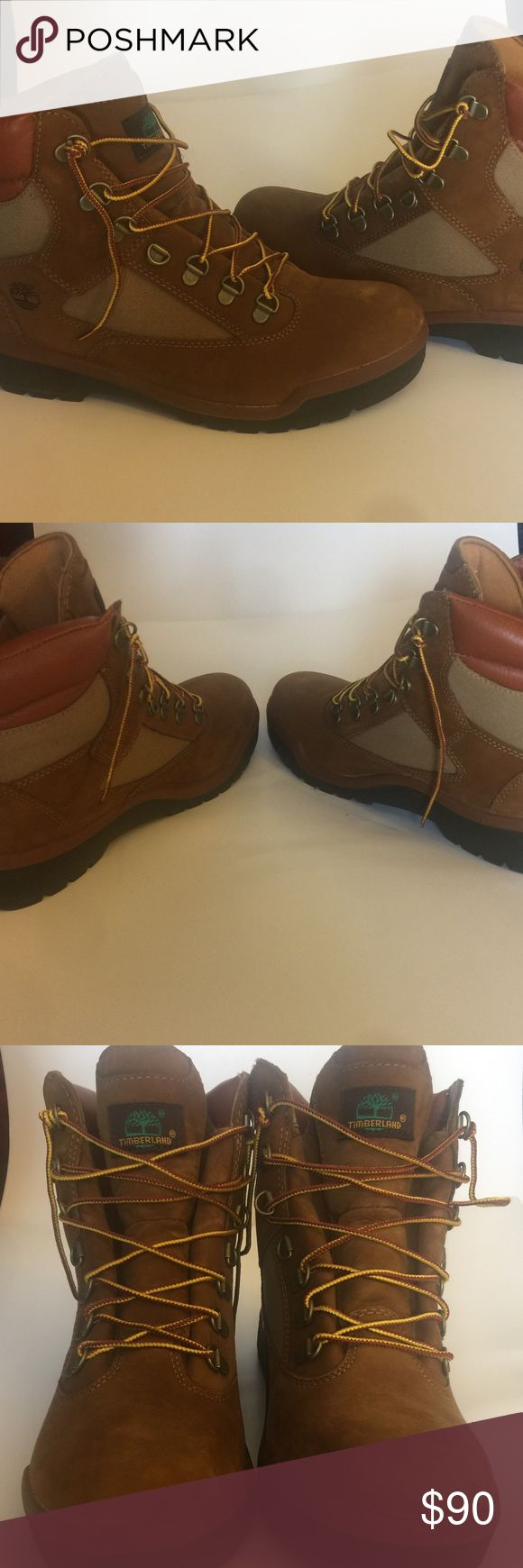 """Timberland 6"""" Nubuck Field Boots (Brown) Brand TIMBERLAND Heavy-duty chores call for the rugged durability of Timberland's Field boots. Seam-sealed waterproof construction keeps feet dry Timberland Shoes Boots"""