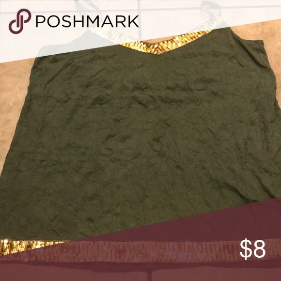 Torrid plus size camisole size 2 (18/20) Olive green camisole with gold sequin. Adjustable straps. torrid Tops Tank Tops