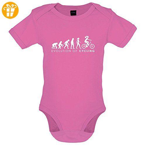 Evolution of Woman - Radfahrerin - Lustiger Baby-Body - Bubble-Gum-Pink - 6 bis 12 Monate - Baby bodys baby einteiler baby stampler (*Partner-Link)