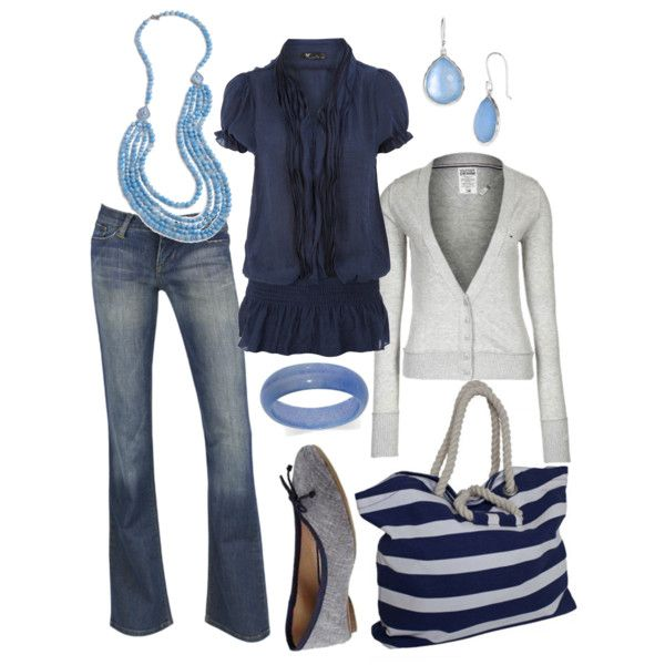 Gray sweater and shoes, Navy Blue shirt, Jeans, Baby Blue accesories-  Casual Outfit