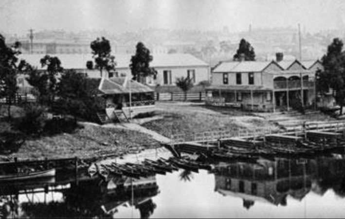 A photo of Melbourne from the old Princes Bridge in the 1860s.