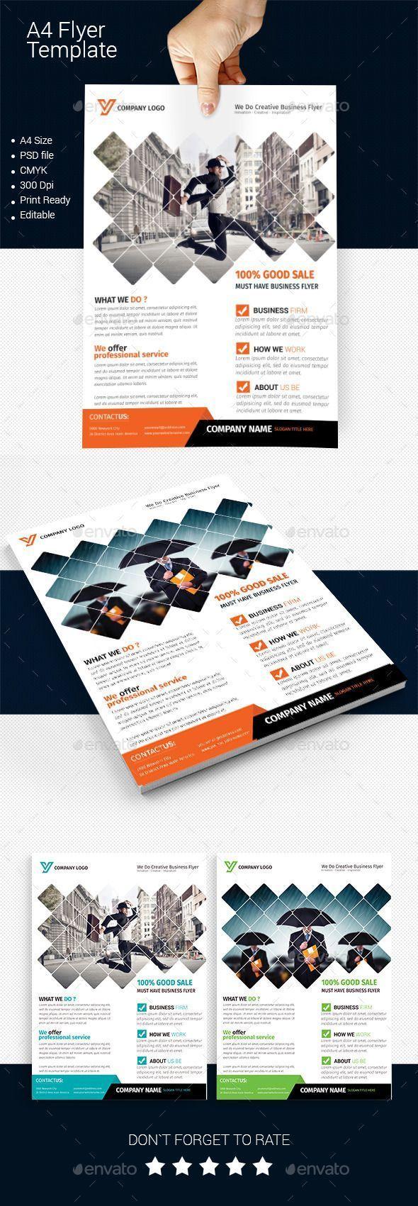 A4 Business Flyer Template 01 – Folletos corporativos – Tarjetas de visita – #BUSINESS …   – ideas de diseño