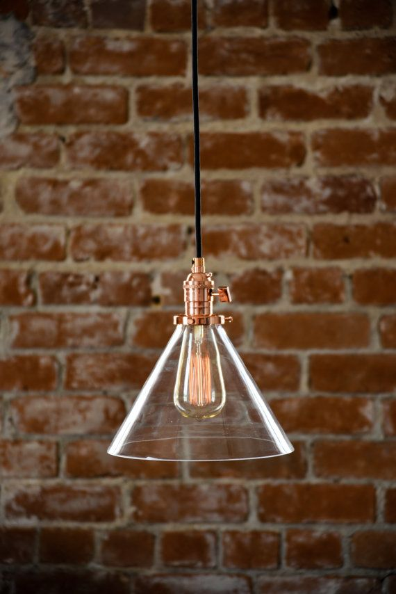 Beautiful copper and glass cone shade industrial pendant light. Handmade in the U.S.A. with top quality components. Glass measures 9 inches in…