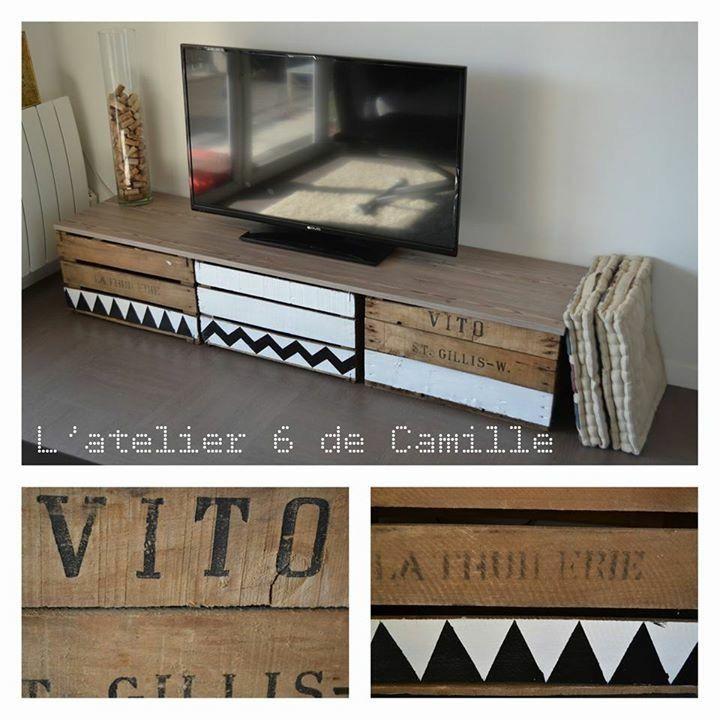 Les 63 meilleures images du tableau caisse meuble t l id es sur pinterest caisses - Meuble en caisse de pomme ...