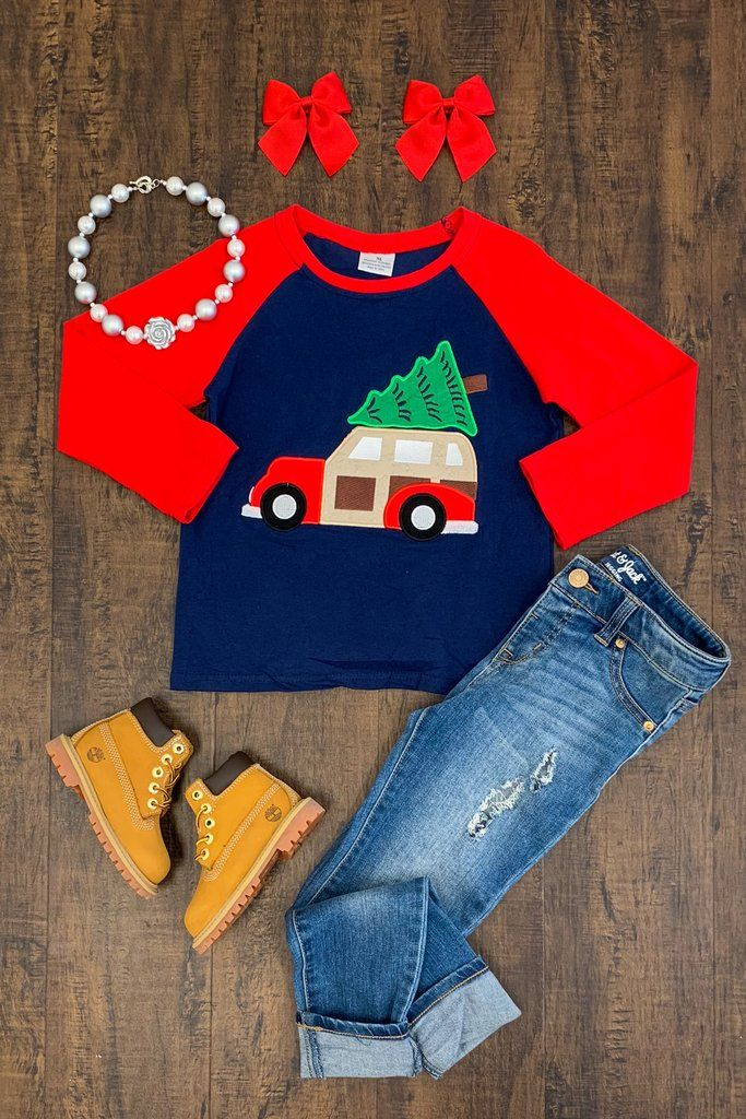 497407c1a Gender Neutral Navy/Red Truck T-Shirt | Boutique Outfits | Shirts,  Christian shirts, Boutique clothing