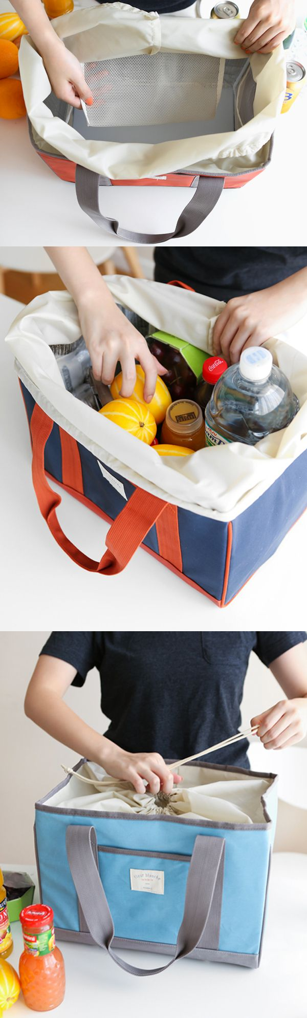 Functional family size picnic bag! Insulated lining and included ice packs will keep your food cool for a longer time!