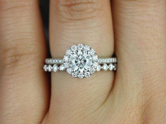 Marisol & Petite Bubble Breathe 14kt White Gold Round Halo FB Moissanite and Diamonds Wedding Set (Other metals and stone options available)...