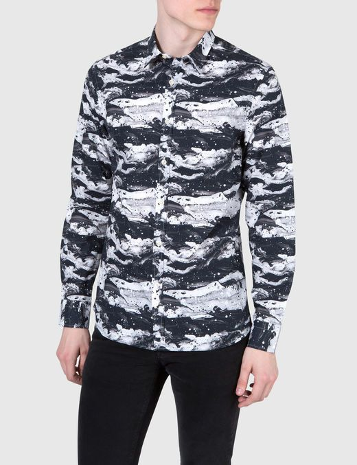 DANI CL PLKT THEME PRINT CASUAL SHIRT, Almost Black