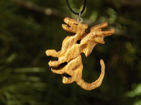 Wild Wood Dragon Pendant, wild oak, handmade pendant, from natural forest wood, father's day present, unique, one of a kind, eco-friendly