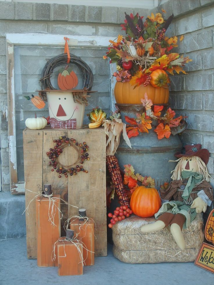 Fall porch like the wooden pumpkins hey yall it 39 s for Pictures of fall decorations for outdoors