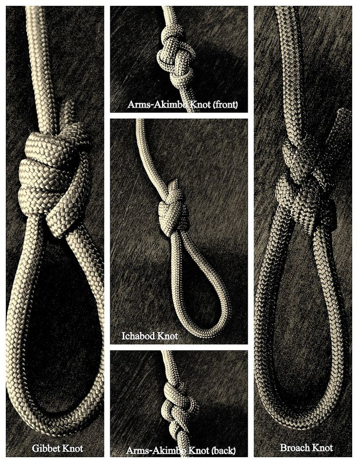 The 'Ichabod' and 'Gibbet' knots are sliding loop(noose) type knots, the 'Broach' knot is a fixed loop, and the front and back sides of the 'Arms-Akimbo' lanyard knot are shown, all tied with paracord.