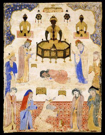 """Miniature from a copy of Jafar al-Sadiq's Fal-nama. """"Idolaters Before an Idol"""" Iran, Tabriz or Qasvin; c. 1550 Miniature: 57.7 × 43.8 cm"""